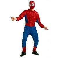 Superheld gespierd: jumpsuit, cape, riem en oogmasker