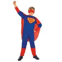 Superheld 3 delig: jumpsuit met cape en oogmasker