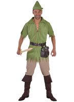 Robin Hood groen: blouse, riem, broek, muts.