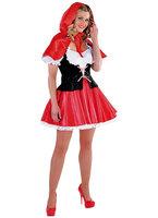 Roodkapje jurk met schortje en cape met muts