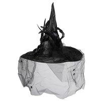 Heksenhoed luxe zwart satijn met tule