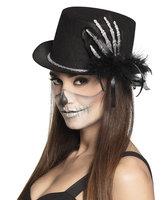 Hoge hoed zwart met glitterhand