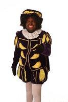 Hoofdpiet kostuum velours luxe model Albufera paars-geel