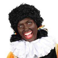 Zwarte piet pruik zwart dames met staartjes