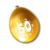 Ballonnen 50 bedrukt metallic goud 8 stuks