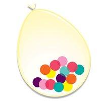 Ballonnen transparant met confetti gekleurd 6 stuks 30 cm