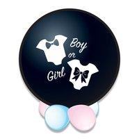 Ballon groot zwart boy or girl gevuld met roze confetti 60 cm