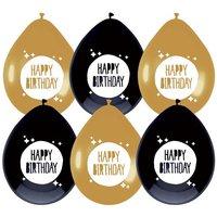 Ballonnen Festive Gold 'Happy Birthday' 6 stuks