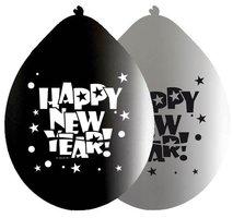 Ballonnen zwart - zilver met opdruk 'happy new year' 8 stuks