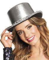 Hoge hoed shine zilver lurex
