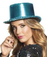 Hoge hoed shine blauw lurex