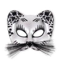 Kattenmasker zwart met zilver en zwarte snorharen