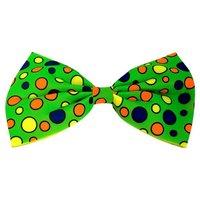 Vlinderstrikje Clown groot, groen met gekleurde noppen, verstelbaar