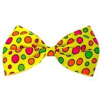 Vlinderstrikje Clown groot, geel met gekleurde noppen, verstelbaar