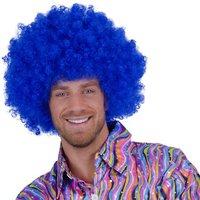 Super Afro, krulpruik blauw