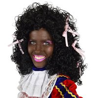 Dames Piet pruik wetlook met roze strikjes