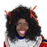 Dames Piet pruik wetlook met rode strikjes