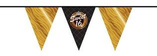 Vlaggenlijn Sweet 16 goud-zwart 10 meter