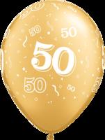 Ballonnen '50' Metallic Gold 5 stuks