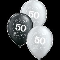 Ballonnen '50' Pearl Black en Metallic Zilver 5 stuks