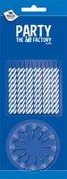 Taartkaarsjes blauw wit 24 stuks + 12 houders
