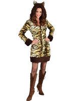 Tijgerprint jurk met capuchon