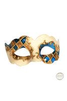 Venetiaans masker Colombina Nuvola Madras creme wit - goud -blauw