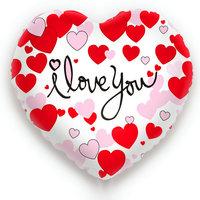 Folieballon I Love You hartvorm wit met rode en roze hartje 49 x 46 cm
