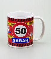 Mok verkeersbord Sarah 50 met tekst
