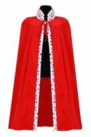 King Arthur koningsmantel rood met wit zwart imitatie hermelijn, lengte ca. 1,35 mtr.