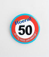 Button verkeersbord 'Hoera 50'
