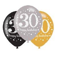 Ballonnen Sparkling goud zwart zilver 30 jaar 6 stuks