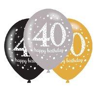 Ballonnen Sparkling goud zwart zilver 40 jaar 6 stuks