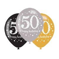 Ballonnen Sparkling goud zwart zilver 50 jaar 6 stuks