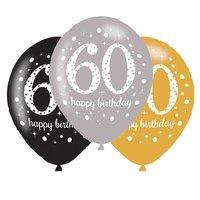 Ballonnen Sparkling goud zwart zilver 60 jaar 6 stuks