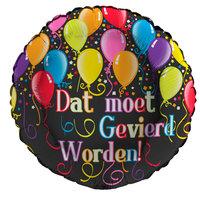 Folieballon 'Dat moet gevierd worden!' glitter holografisch 43 cm