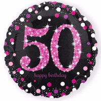 Folieballon '50' sparkling zwart/roze opdruk: 'happy birthday'