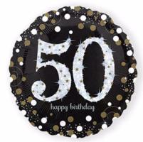 Folieballon '50' sparkling zwart/goud met opdruk 'happy birthday'