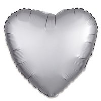 Folieballon Zilver hart 43 cm