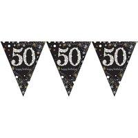 Vlaggenlijn 50 jaar sparkling zwart/goud met opdruk: 'happy birthday'
