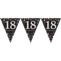 Vlaggenlijn 18 jaar sparkling zwart/goud met opdruk: 'happy birthday'