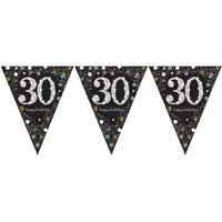 Vlaggenlijn 30 jaar sparkling zwart/goud met opdruk: 'happy birthday'