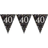 Vlaggenlijn 40 jaar sparkling zwart/goud met opdruk: 'happy birthday'