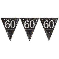 Vlaggenlijn 60 jaar sparkling zwart/goud met opdruk: 'happy birthday'