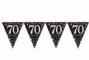 Vlaggenlijn 70 jaar sparkling zwart/goud met opdruk: 'happy birthday'