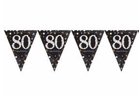 Vlaggenlijn 80 jaar sparkling zwart/goud met opdruk: 'happy birthday'