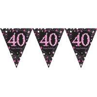 Vlaggenlijn '40' sparkling zwart/roze met opdruk: 'happy birthday'