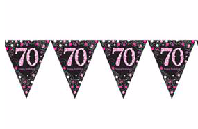 Vlaggenlijn '70' sparkling zwart/roze met opdruk: 'happy birthday'
