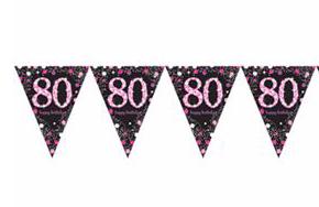 Vlaggenlijn '80' sparkling zwart/roze met opdruk: 'happy birthday'