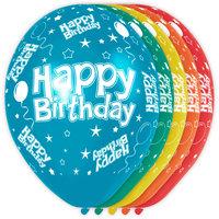 Ballonnen bedrukt 'Happy Birthday' 5 stuks